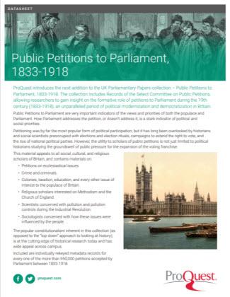 Public Petitions to Parliament