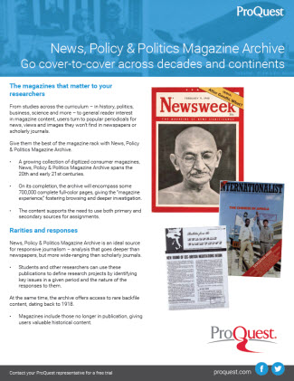 News, Policy and Politics Magazine Archive